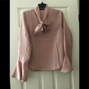 Pink Bell Sleeve Tie Neck Blouse